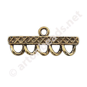 Multi-Strand End Bar-Antique Gold Plated-5 Holes-39.7x16.7mm