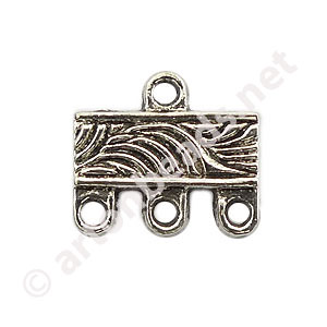Multi-Strand End Bar-Antique Silver Plated-3 Holes-12.2x10.8mm