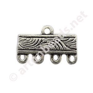 Multi-Strand End Bar-Antique Silver Plated-4 Holes- 16.3x10.4mm