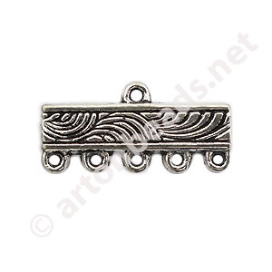 Multi-Strand End Bar-Antique Silver Plated-5 Holes-22.3x10.7mm