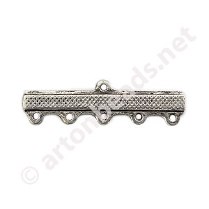 Multi-Strand End Bar-Antique Silver Plated-5 Holes-30.7x8.8mm