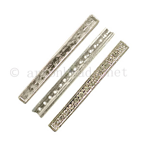 Rhinestone Divider - 925 Silver Plated - 14 Holes-5.4x55mm-3pcs