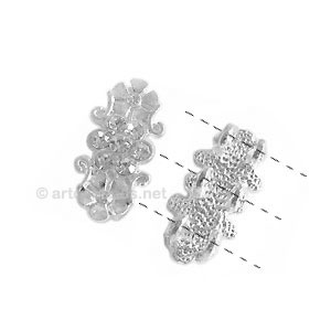 Rhinestone Divider - 925 Silver Plated - 3 Holes - 22x11mm-6pcs
