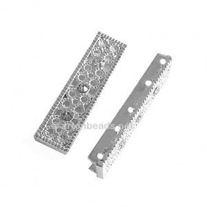 Rhinestone Divider - White Gold Plated - 5 Holes - 30x8mm-10pcs