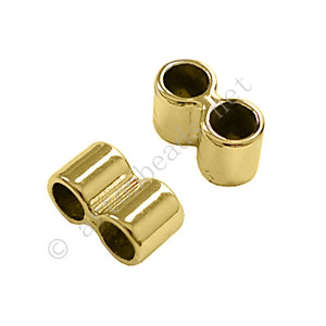 Slider with 2 Holes - 18k Gold Plated - 7x13mm - 8pcs