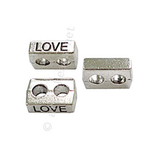 Slider with 2 Holes - Antique Silver Plated - 4x11mm - 20pcs