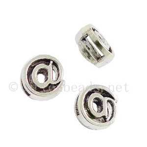 Slider - Antique Silver Plated - ID 6x1.8mm - 20pcs