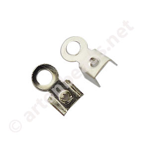 Fold-over Clamp - White Gold Plated - 1.5mm - 100pcs