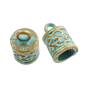 Glue-On Bellcap - Bronze/Green Patina - ID 6mm - 10pcs