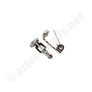 Brooch Pin - White Gold Plated - 13mm - 20pcs