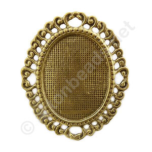 Brooch Setting - Antique Brass Plated - 30x40mm - 2pcs