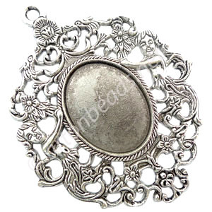 Pendant Setting - Antique Silver Plated - 25x33mm - 1pc