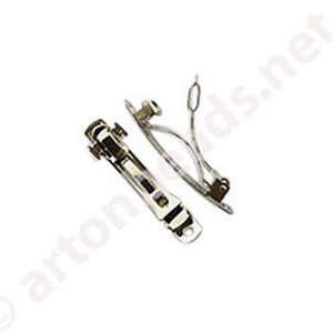 Hair Clip - White Gold Plated - 40mm - 7pcs