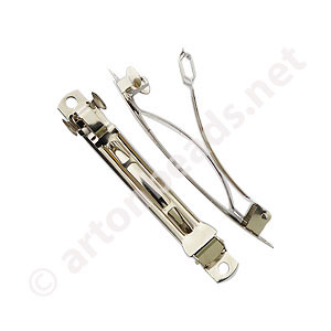 Hair Clip - White Gold Plated - 80mm - 6pcs