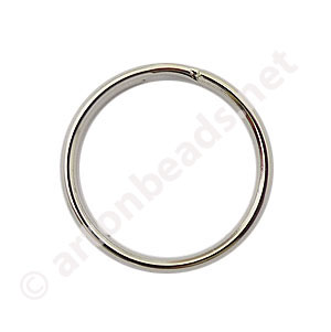 Key Ring - White Gold Plated - 25mm - 10pcs