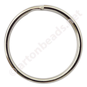 *Key Ring - White Gold Plated - 30mm - 10pcs
