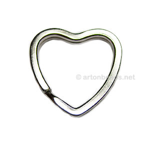 Key Ring - White Gold Plated - 30mm - 10pcs