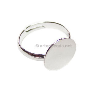 Ring Base White Gold Plated - Adjustable - 12mm - 5pcs