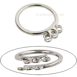 Ring Base White Gold Plated - Adjustable - 3pcs