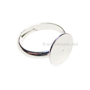Ring Base 925 Silver Plated - Adjustable - 12mm - 5pcs