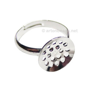 Ring Base White Gold Plated - Adjustable - 12mm - 4pcs