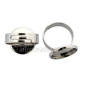 Ring Base White Gold Plated - Adjustable - 16mm - 4pcs