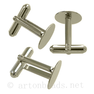 Cuff Links White Gold Plated - 13mm - 4pcs