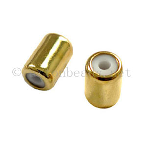 Stopper with Rubber - 18k Gold Plated - ID 1.2mm - 10pcs