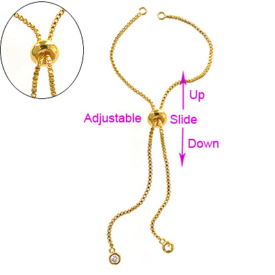 Slider/Slide Extender Chain - 18k Gold Plated - 2X120mm -1 Set