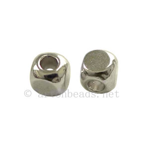 Base Metal Spacer Bead - White Gold Plated - 4mm - 60pcs
