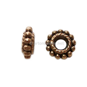 Base Metal Spacer Bead - Antique Gold Plated - 8mm - 50pcs