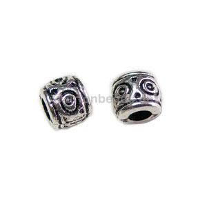 Base Metal Spacer Bead - Antique Silver Plated - 6x7mm - 30pcs
