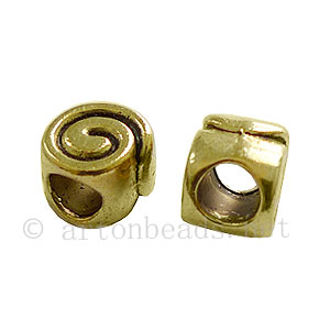 *Metal Bead - Antique Gold Plated - 7.4x9.4mm - 15pcs