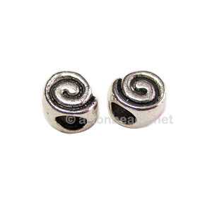 Metal Bead - Antique Silver Plated - 8x7mm - 10pcs