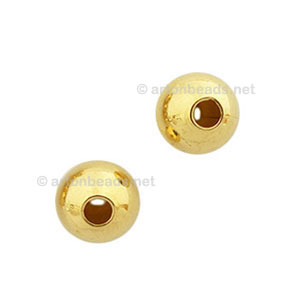 Brass Base Beads - 18k Gold Plated - 6mm - 70pcs