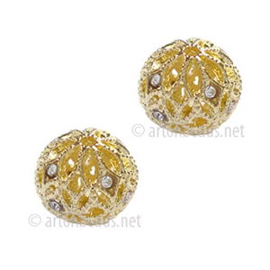 Filigree Metal Bead With Crystal - 14k Gold Plated - 10mm-2pcs