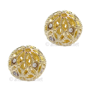 Filigree Metal Bead With Crystal - 14k Gold Plated - 12mm - 2pcs
