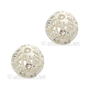 Filigree Metal Bead With Crystal - 925 Silver Plated - 10mm-2pcs