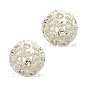 Filigree Metal Bead With Crystal - 925 Silver Plated - 12mm-2pcs