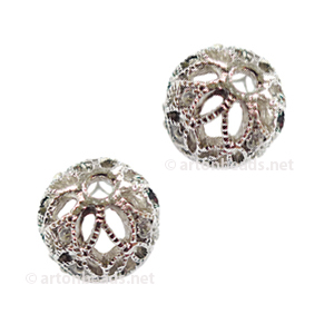 Filigree Metal Bead With Crystal - White Gold Plated - 10mm-2pcs