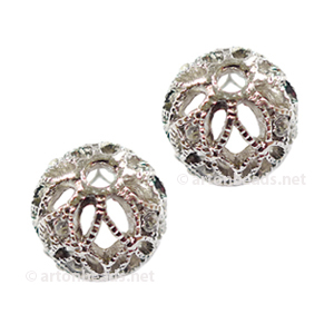 Filigree Metal Bead With Crystal - White Gold Plated - 12mm-2pcs