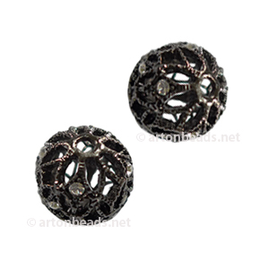 Filigree Metal Bead With Crystal - Gun Metal Plated - 10mm-2pcs