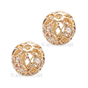 Filigree Metal Bead With Crystal - Rose Gold Plated - 12mm-2pcs
