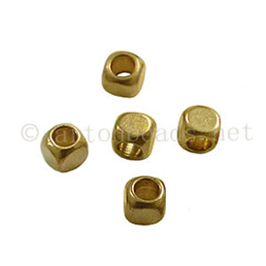 Brass Base Beads - Antique Gold Plated - 2.5mm - 70pcs