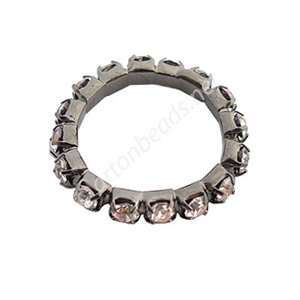 Metal Link With Crystal - Gun Metal Plated - 22mm - 6pcs