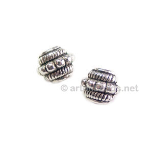 Metal Bead - Antique Silver Plated - 6.6x7.3mm - 25pcs