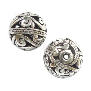 Metal Bead - Antique Silver Plated - 15mm - 6pcs