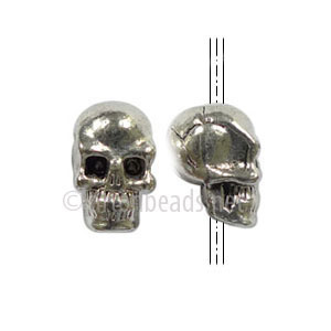 Metal Skull Bead - Antique Silver Plated - 6x11mm - 8pcs