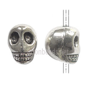 Metal Skull Bead - Antique Silver Plated - 10x12mm - 6pcs