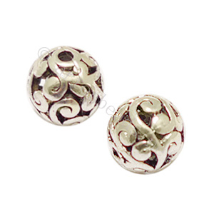 Metal Bead - Antique Silver Plated - ID 2mm - 5pcs